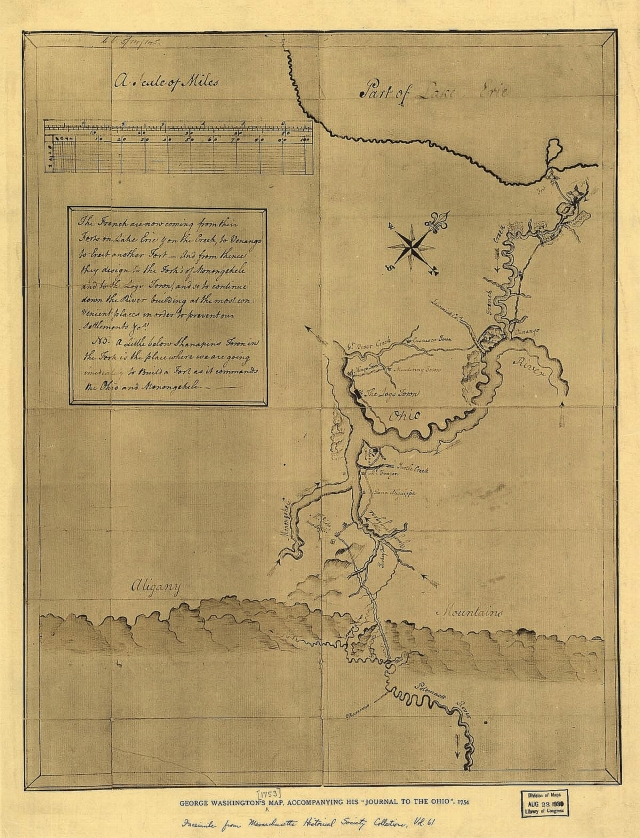 George Washington Map showing Logstown, Aliquippas Town, and Mingo Town