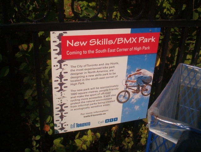 Proposed High Park BMX Park sign at South Duck Pond near Spring Rd. Parking Lot. Oct.09, 2011